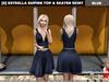 [S] Estrella Empire Top & Skater Skirt Blue
