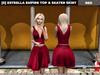 [S] Estrella Empire Top & Skater Skirt Red