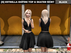[S] Estrella Empire Top & Skater Skirt Black