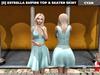 [S] Estrella Empire Top & Skater Skirt Cyan