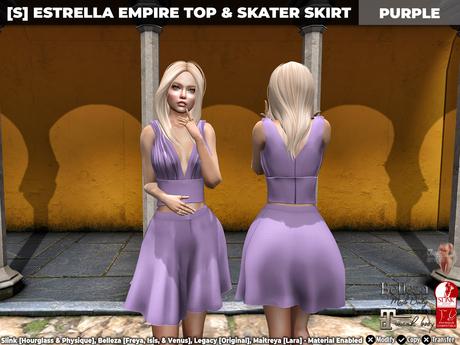[S] Estrella Empire Top & Skater Skirt Purple