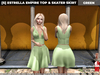 [S] Estrella Empire Top & Skater Skirt Green