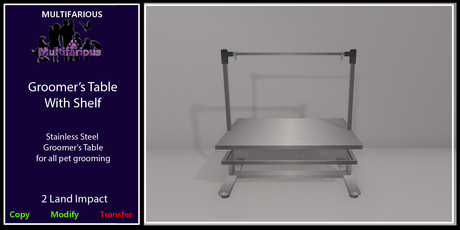 *M* Groomer's Table with Shelf [wear to unpacl]