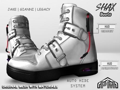 :PM: Cyberpunk Boots Shax - White
