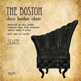 [noctis] 'The Boston' worn leather deco Wingback chair in slate