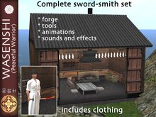 Japanese Sword-smiths forge, clothing and accessories.