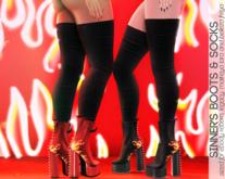 Caboodle - Sinner's Boots - Black Flames (EBODY REBORN, LEGACY, MAITREYA LARA, BELLEZA FREYA)