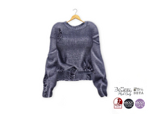 {amiable}Mesh Damaged Long Sleeves Knit Sweater07