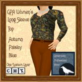 GPA Women's Long Sleeve Top - Autumn Paisley Blue Print