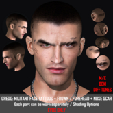 CREDO: Militant Face Tattoos + Frown + Scar EVOX Only
