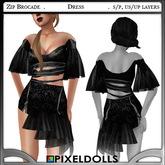 (PixelDolls) Bargain Bin ~ Zip Brocade . Black