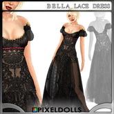 (PixelDolls) Bella Lace Dress . Black
