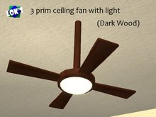 Lok's Ceiling Fan Light (Cherry Dark Wood)