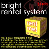 Bright Rental System - Rent boxes, tenant teleporter, HUD for stats, arrears, overprim reports, & more!