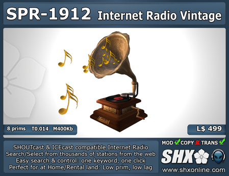 Internet Radio - SHX - SHOUTcast & ICEcast - SPR-1912  Gramophone