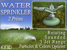 3 Water Sprinklers * 2 Prims * 6 Jet Textures * 10 Jet Colors * 3 Jet ranges * Sound Volume * Transfer