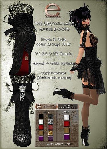 ezura + The Crown Lace Ankle Boots *Black Set