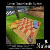 Lovers Picnic Animated Cuddle Blanket Set W. Wine, Strawberries & Candles