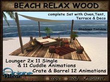 Wooden terrace with sun bed/lounger, barrels, wooden boxes and awnings - Medieval/Gorean -