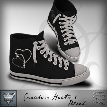 Viviane Fashion - Sneakers Heart1 Black