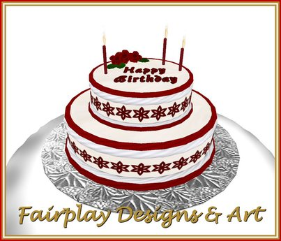 Brilliant Second Life Marketplace Red Themed 2 Tier Happy Birthday Cake Birthday Cards Printable Nowaargucafe Filternl