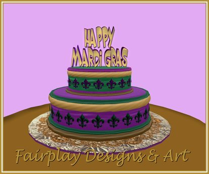 Cool Second Life Marketplace Fda 2 Tier Mardi Gras Cake Touch For Funny Birthday Cards Online Alyptdamsfinfo