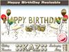 ::KAZ:: HAPPY BIRTHDAY sculpted TEXT GOLD with deco,  RESIZE MENU, BIRTHDAY DECORATION, REZZDAY