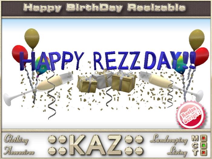 :: KAZ:: HAPPY REZZDAY sculpté TEXTE BLUE vec déco, RESIZE MENU, Décoration anniversaire, REZZDAY