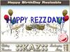 ::KAZ:: HAPPY REZZDAY sculpted TEXT BLUE with deco,  RESIZE MENU, BIRTHDAY DECORATION, REZZDAY