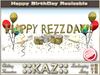 ::KAZ:: HAPPY REZZDAY sculpted TEXT GOLD with deco,  RESIZE MENU, BIRTHDAY DECORATION, REZZDAY