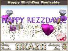 ::KAZ:: HAPPY REZZDAY HEARTS sculpted TEXT PURPLE with deco,  RESIZE MENU, BIRTHDAY DECORATION, REZZDAY