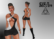 [Eve n Better] Crossed Dress - black/white