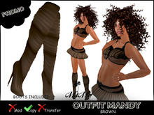 Outfit Mandy Brown  - Leather high heel boots included in matching color - MiMo Couture