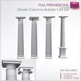 Full Perm Sculpted Classic Greek Column-Pillar - 4 Columns Builder's Kit- Doric  - Ionic - Corinthian