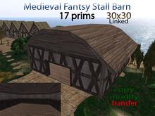 PROMO - Medieval Fantasy Stall Barn Farm 17 prims ( 30x30)