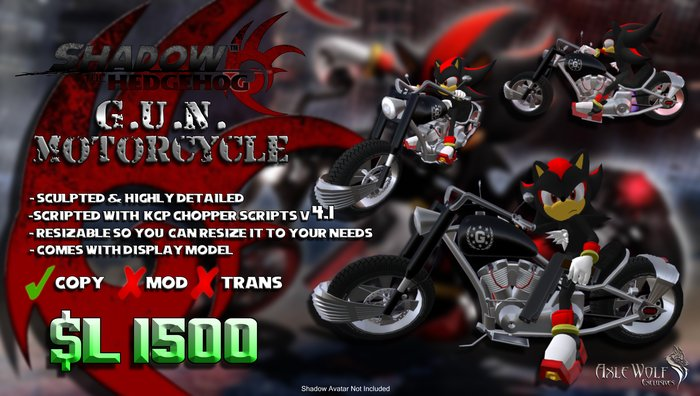 Second Life Marketplace Shadow S G U N Motorcycle Axle Wolf Exclusive