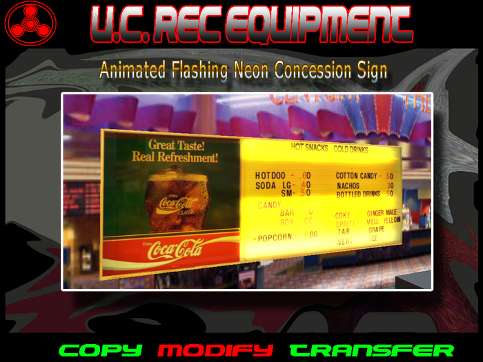 Animated Flashing Neon Concession Sign
