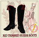 Hussar Style - Hussar Boots Red Trimmed