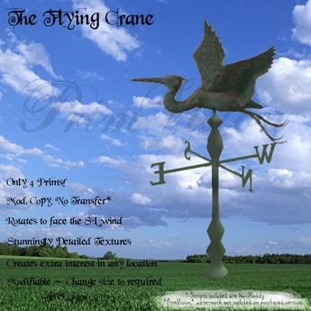 *PV* Flying Crane Weather Vane