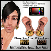 *GD* - Ear Stretched - Zodiac Sign Plugs