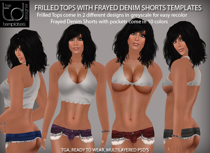 TD TEMPLATES Frilled Tops w Frayed Denim Shorts - FULL PERMISSIONS