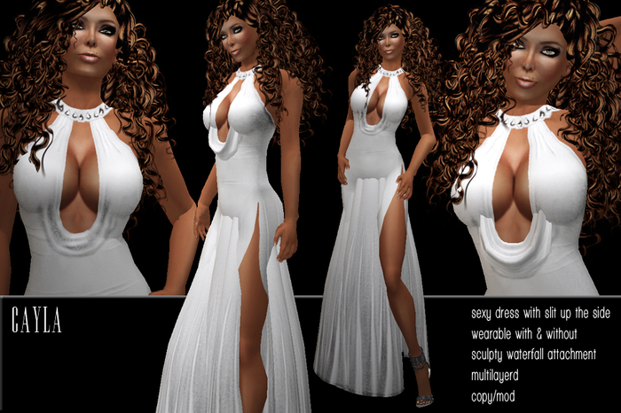 BD-Cayla white sexy evening gown waterfall collar erotic slit on side ball dance