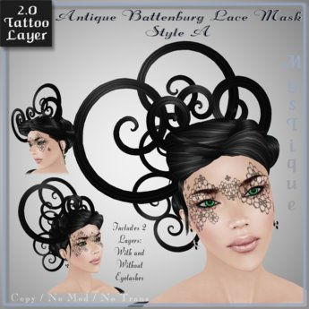 Antique Battenburg Lace Mask Style A - Tattoo Layer