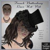 French Battenburg Lace Net Veil - Tattoo Layer