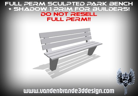 ~Full perm sculpted park bench 1 prim + sculptmap! and shadow