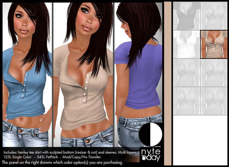 Nyte'N'Day - Henley Tee Shirt - Beige