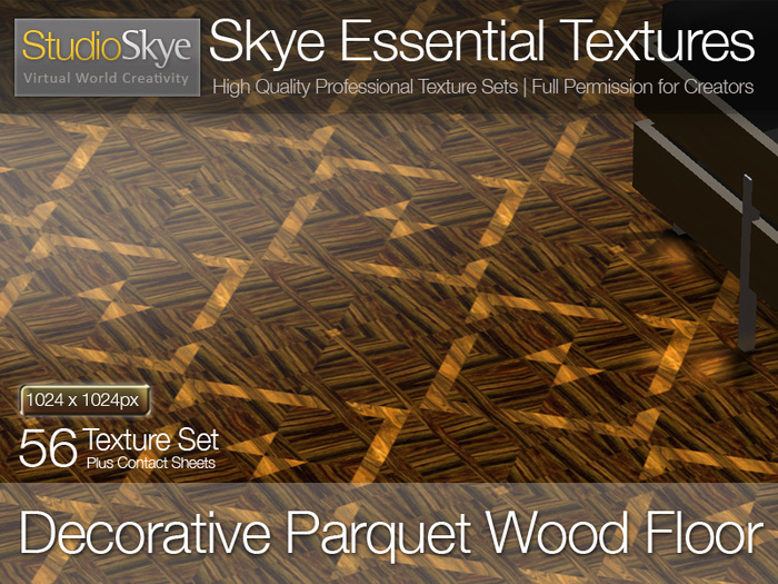 Promo: Save L$100 Decorative Parquet Wood Floor - Skye Essential - 56 Full Perms Textures