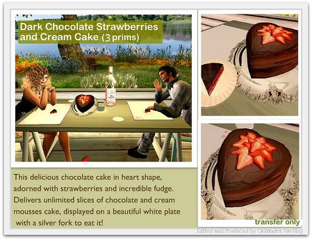 Dark chocolate cake with strawberries and cream