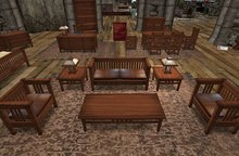 Rustica Furniture: Walnut Shaded 30-Piece MissionStyle Set, LowPrim with color/texture HUD