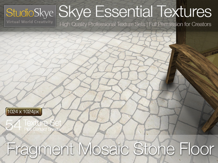 Fragment Mosaic Stone Floor - Skye Essential - 54 Full Perms Textures